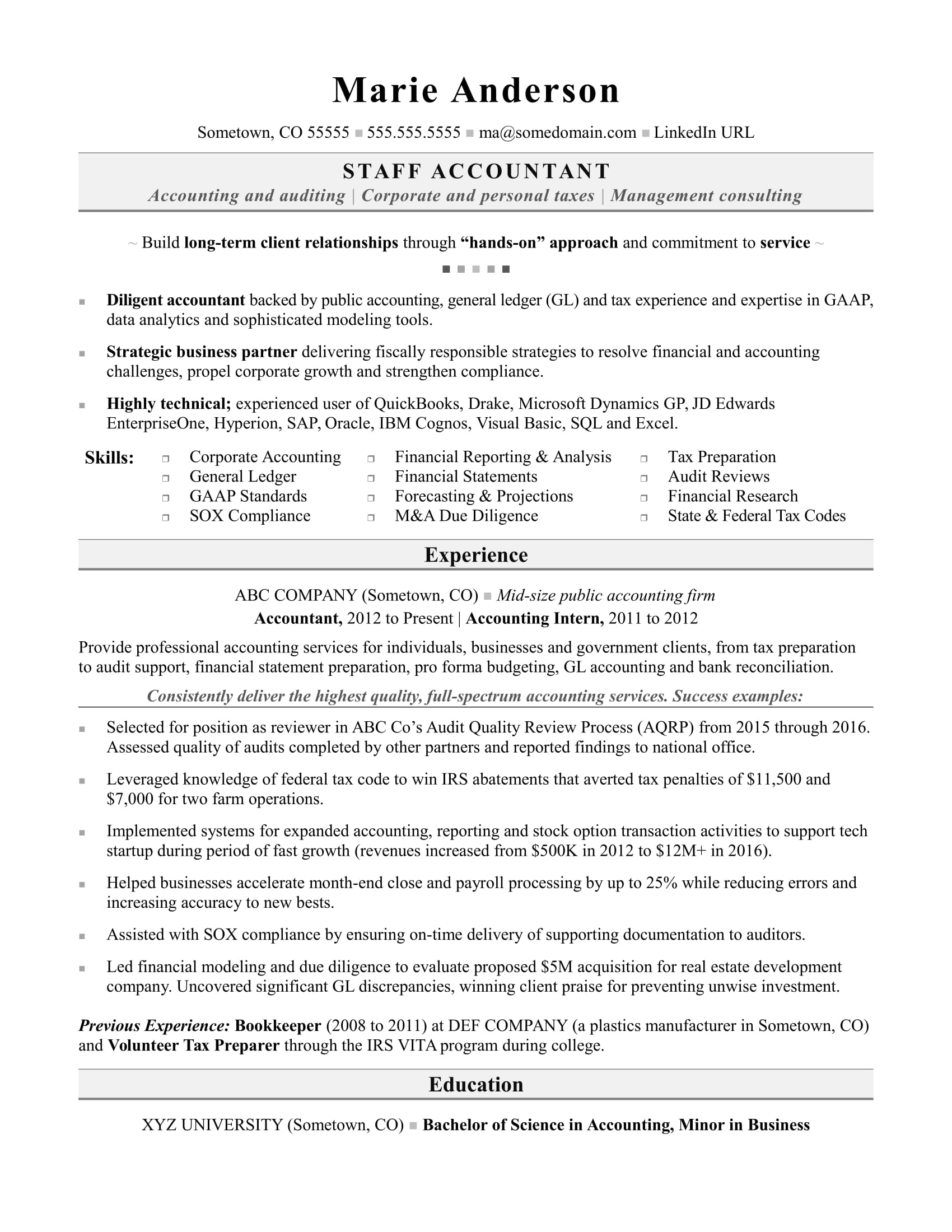 Accounting Resume Sample | Monster.com