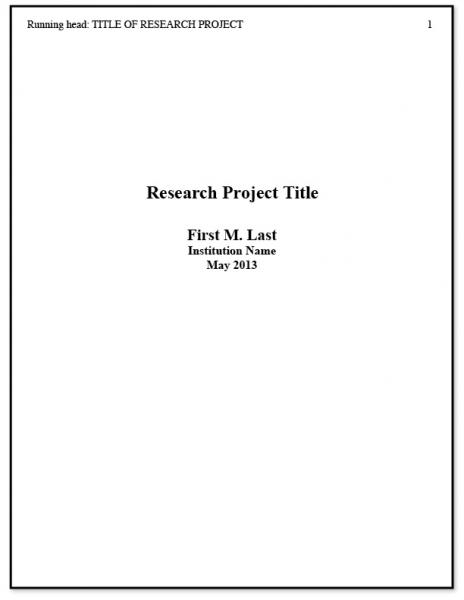 Apa Title Page Example 2 | Goodies | Pinterest | Apa Title With