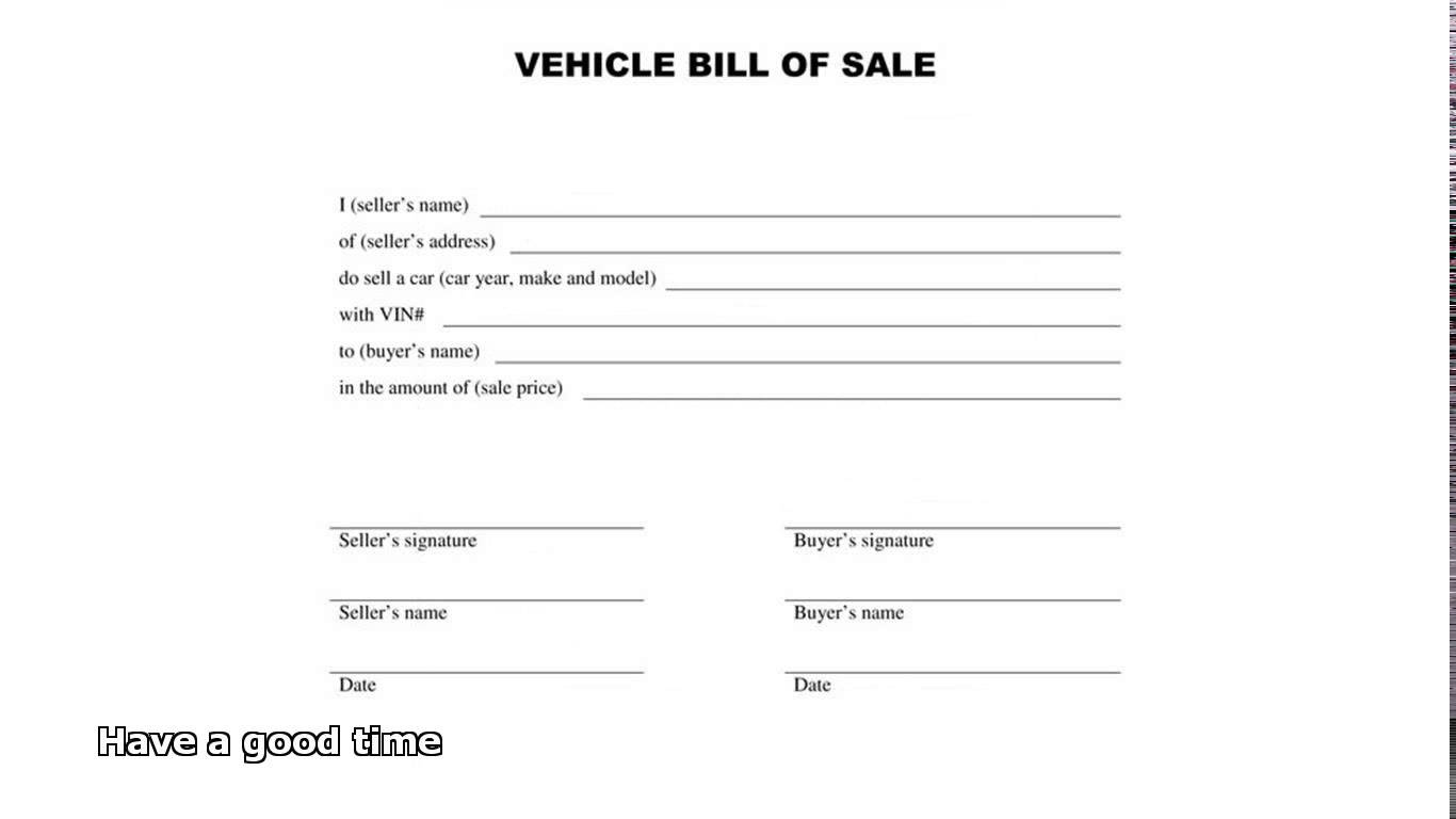 Automobile Bill Of Sale Template (10) | Professional And High