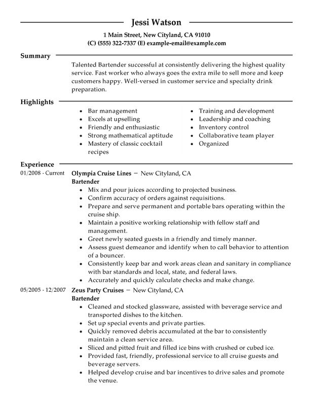 Bartender Resume Examples – Free to Try Today | MyPerfectResume