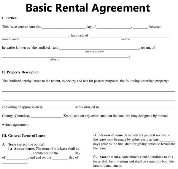 simple rental agreement template basic rental agreement template