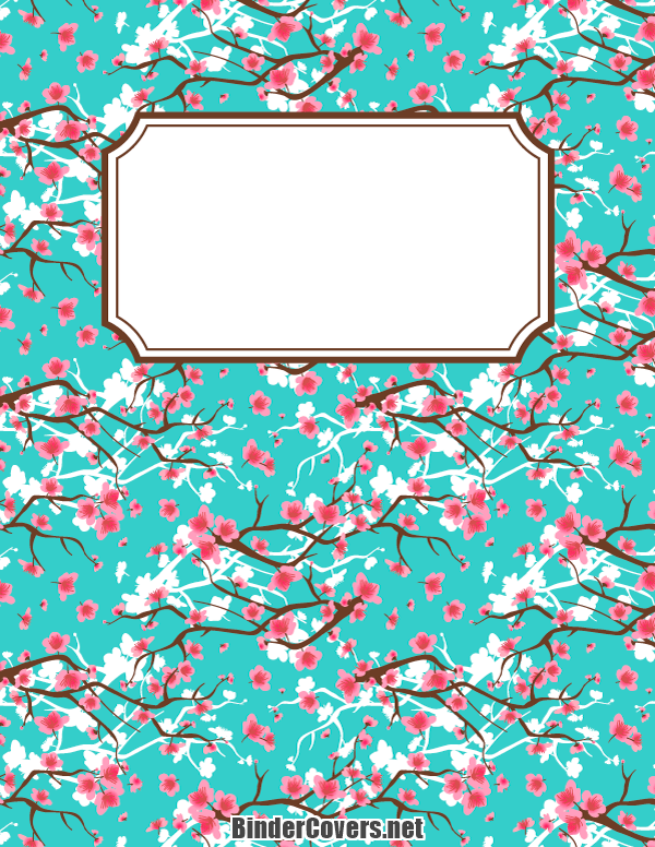 Printable Cherry Blossom Binder Cover