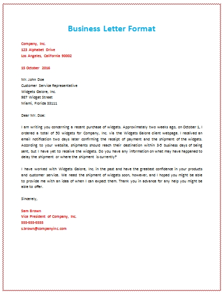 6 Samples Of Business Letter Format To Write A Perfect Letter With