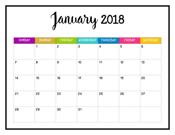 2018 PRINTABLE Calendar 2018 Wall Calendar Pages Bright and Cheery