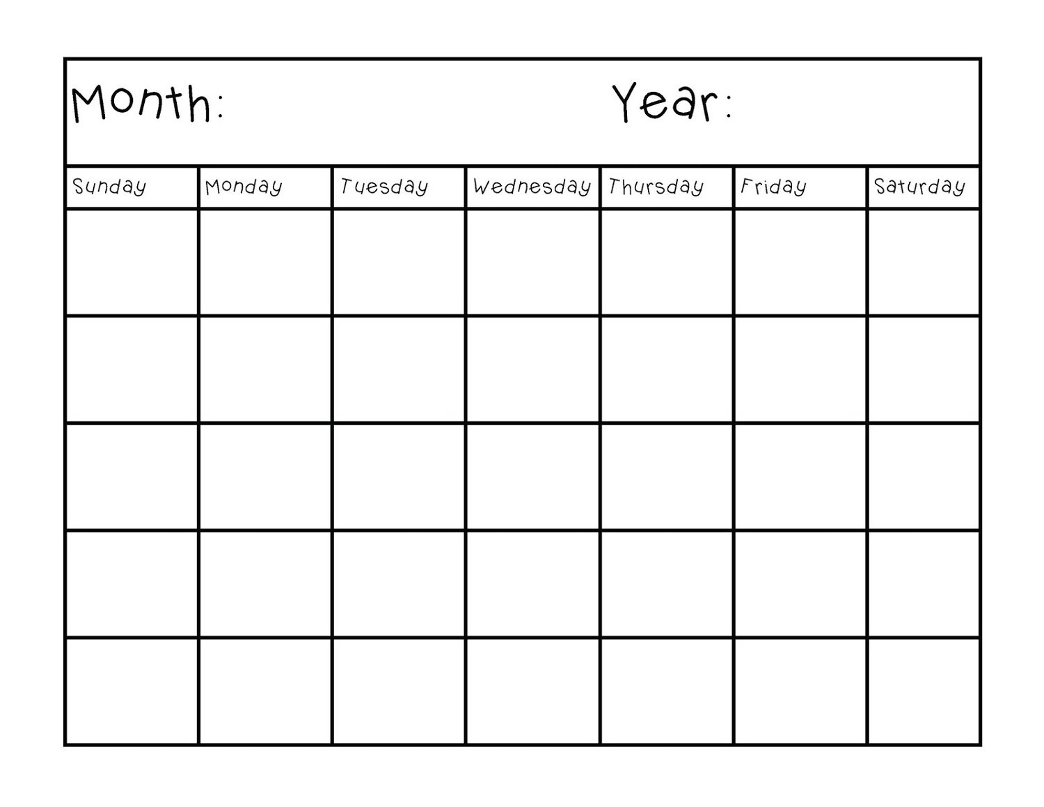 Blank Calendar Pages for Customized Schedule – Printable Shelter
