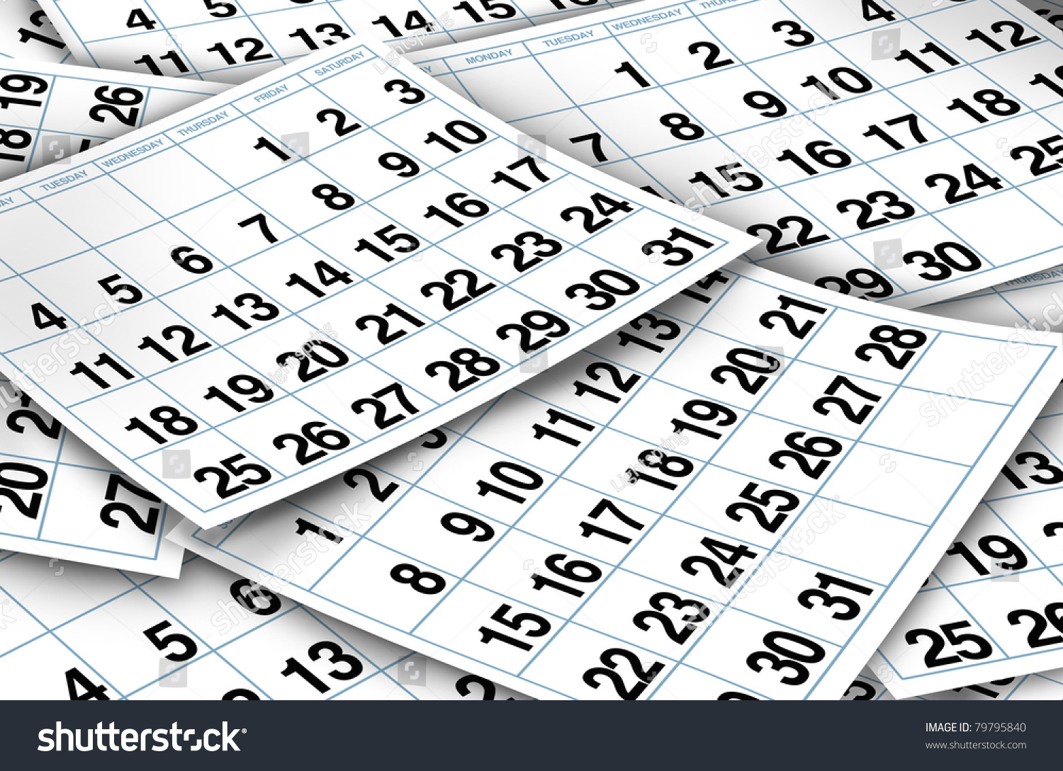 Calendar Pages Representing Time Important Dates Stock