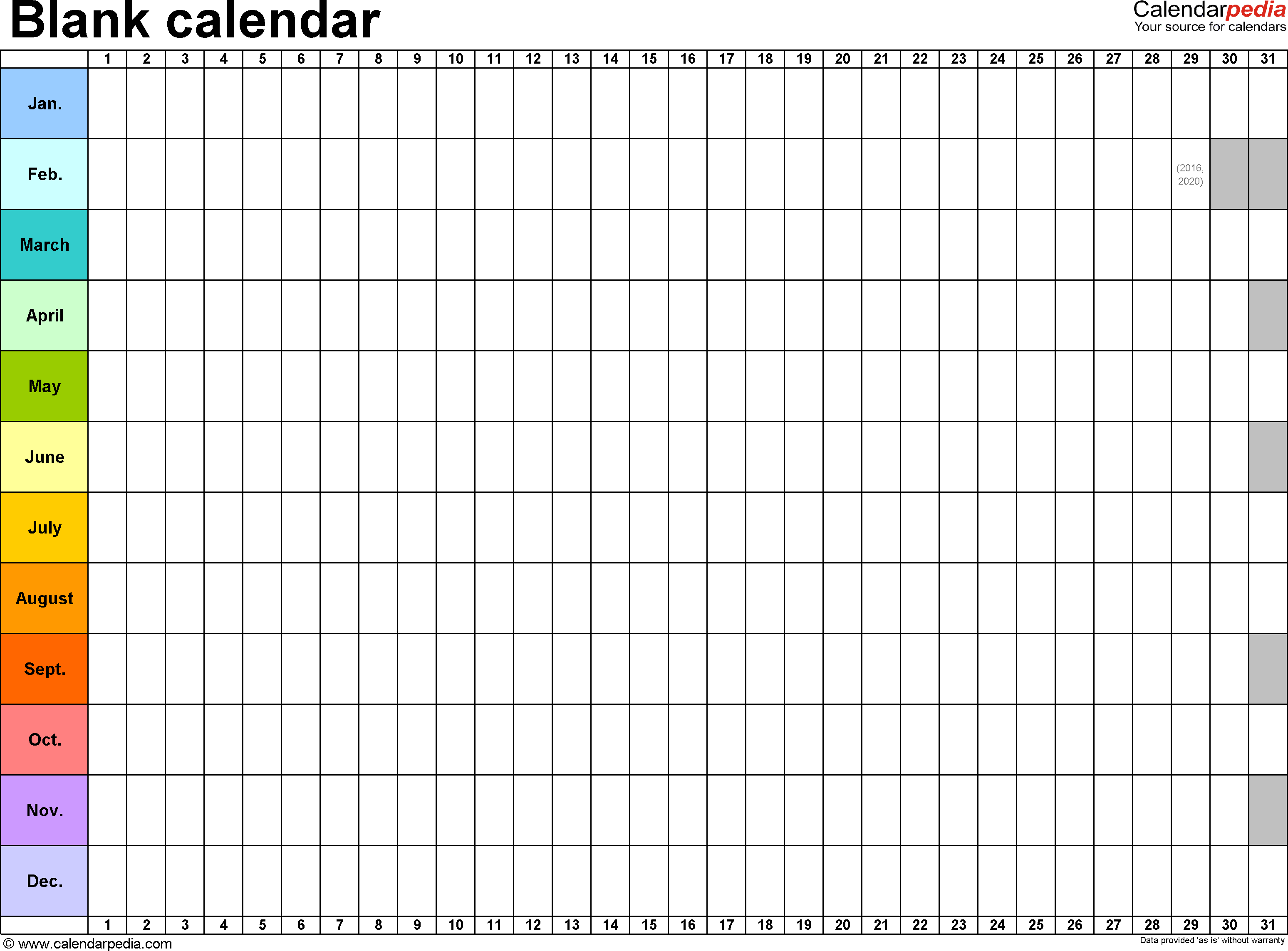 2018 Printable Monthly Calendar