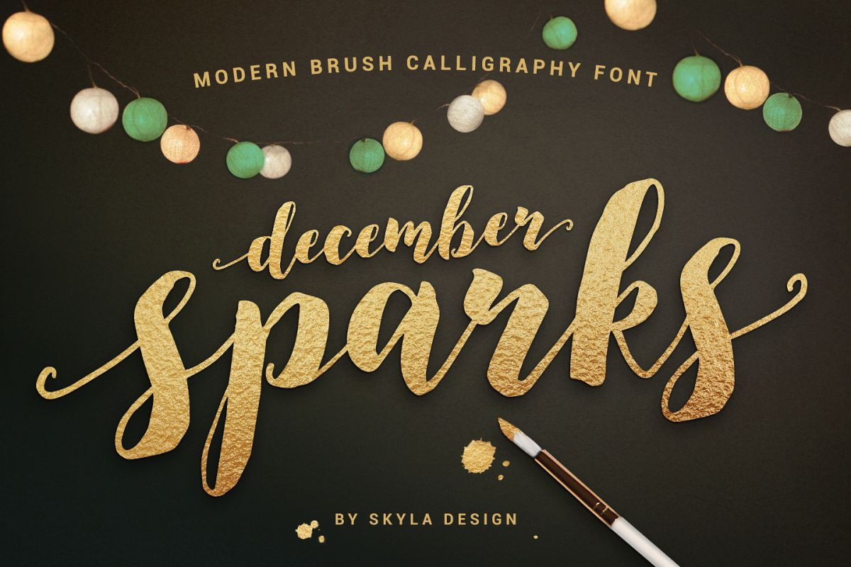 Modern brush calligraphy font, December | Font Bundles