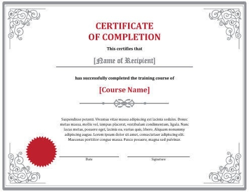 7 Certificates Of Completion Templates [Free Download] For