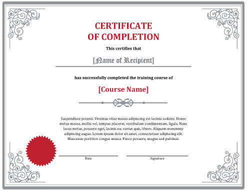 certificate of training completion template 7 certificates of