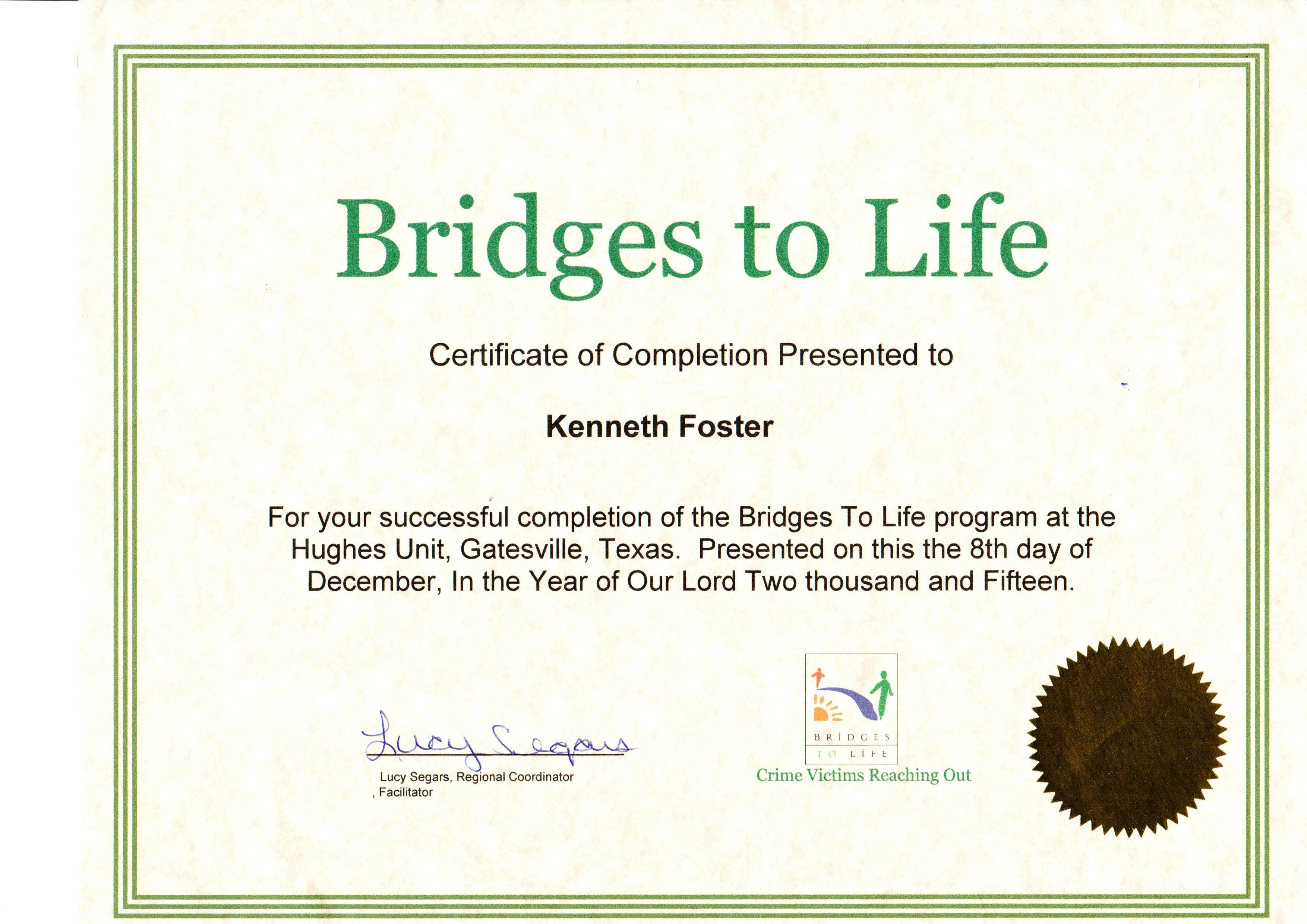 Certificate of Completion Bridges to Life