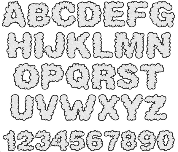 Home Format Fonts Embroidery Font: Cloud Font from Embroidery Patterns