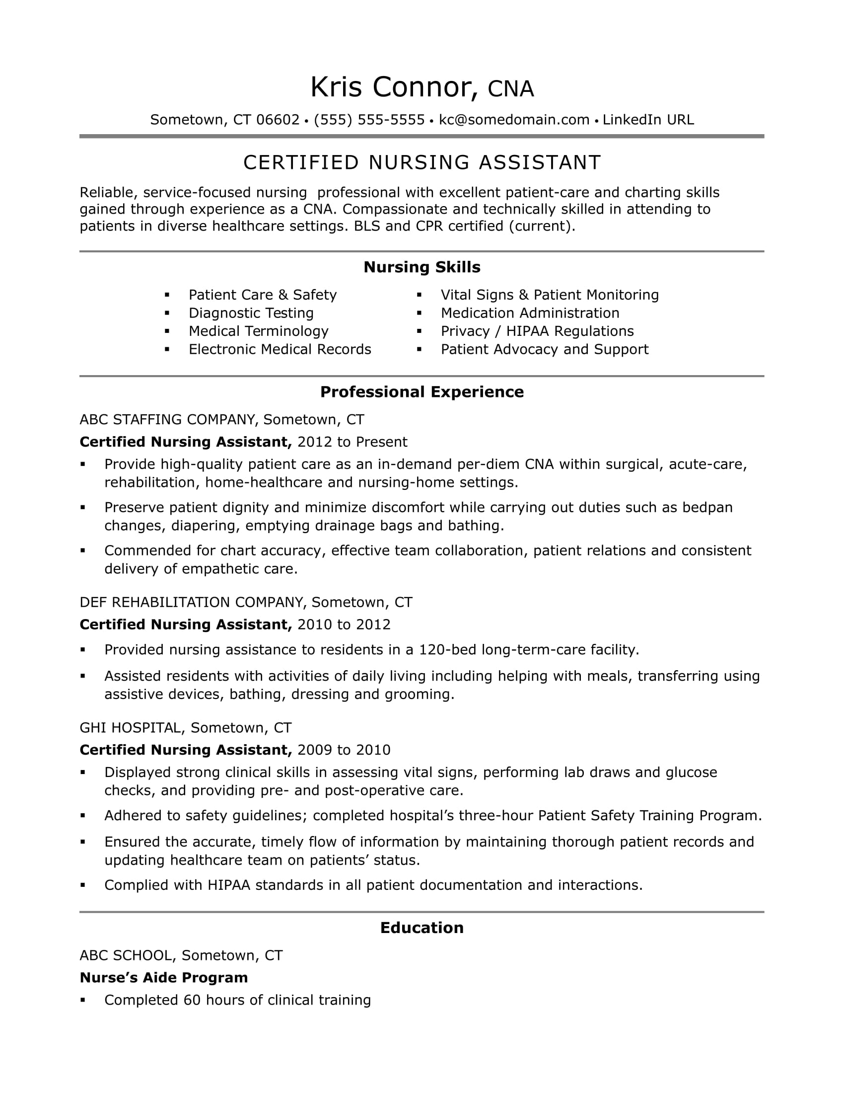 CNA Resume Examples: Skills for CNAs | Monster.com