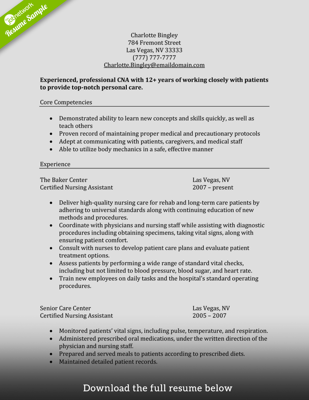 How to Write a Perfect CNA Resume (Examples Included)