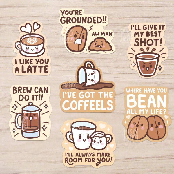 Coffee Puns' Vinyl Stickers on Storenvy