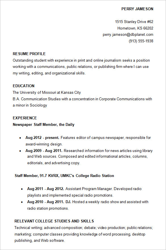 College Resumes Examples Resume Examples For College Epic Example