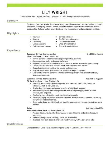 Simple Customer Service Representative Resume Example | LiveCareer