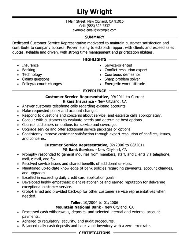 Customer Service Representative Resume Examples – Free to Try