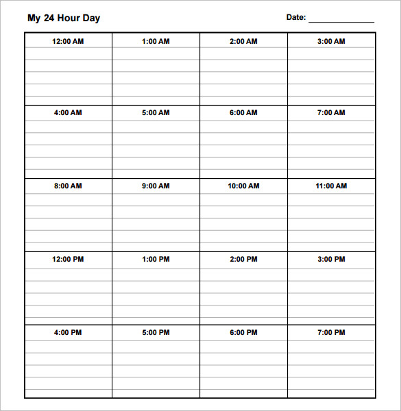 daily schedule template Incep.imagine ex.co