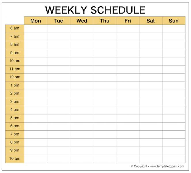 Daily schedule maker relevant imagine template blank printable