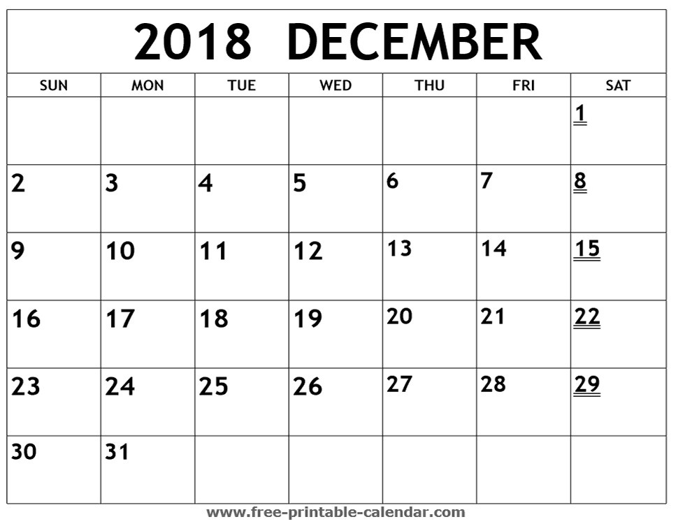 Printable Calendar December 2018 | Business Template