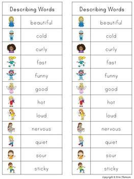Writing Center Word List ~ Describing Words | TpT