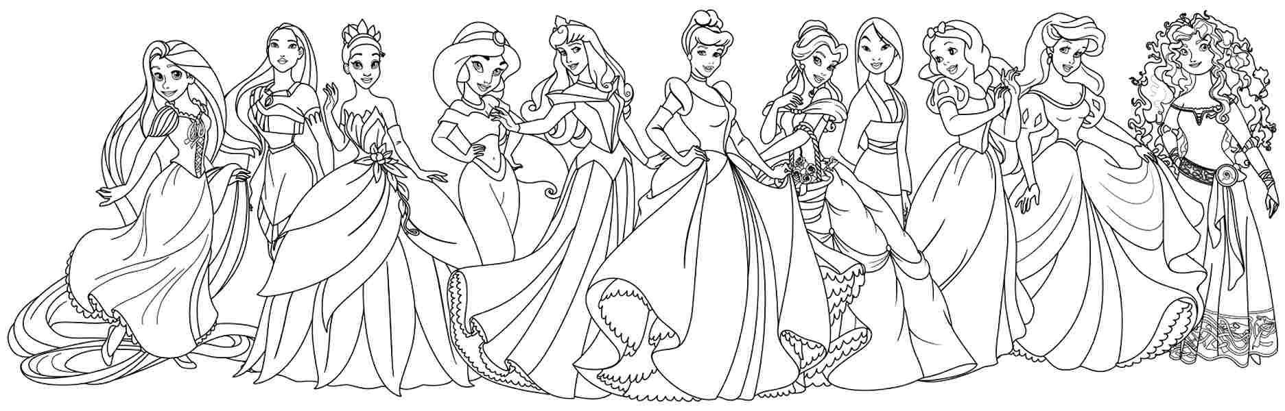all disney princess coloring pages Free Coloring Sheets