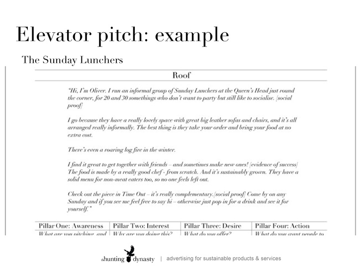 examples of elevator pitch Roho.4senses.co