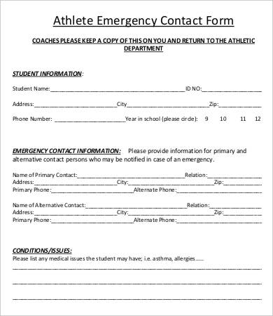 Printable Emergency Contact Form If you were in an accident and