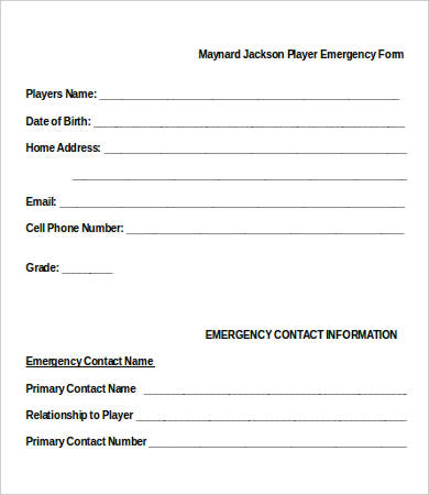 emergency contact form template 11 emergency contact forms pdf doc