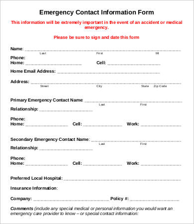 11+ Emergency Contact Forms PDF, DOC | Free & Premium Templates