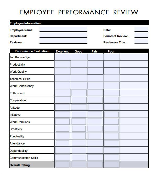 performance feedback form template employee performance evaluation