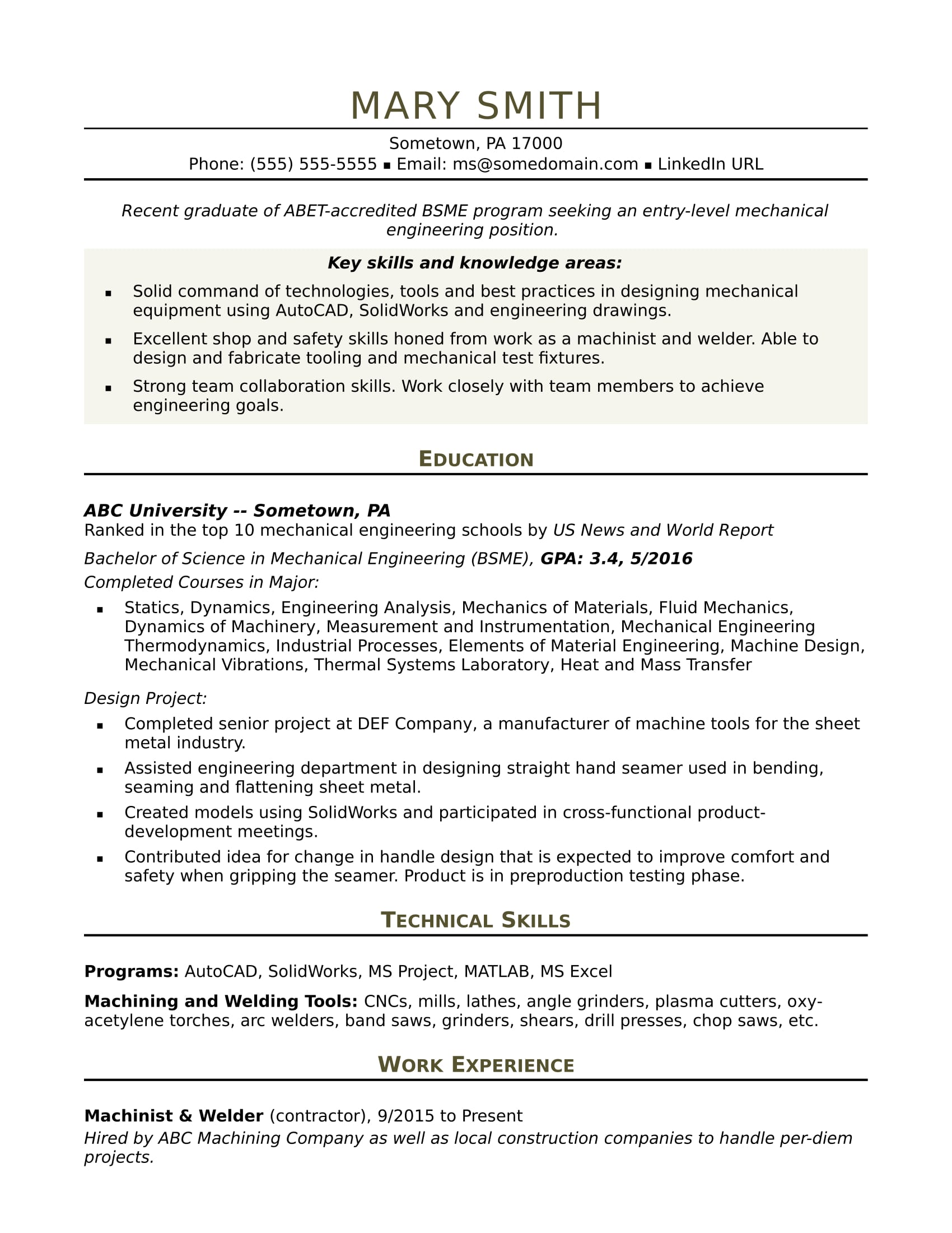 Sample Resume For An Entry Level Mechanical Engineer | Monster.com