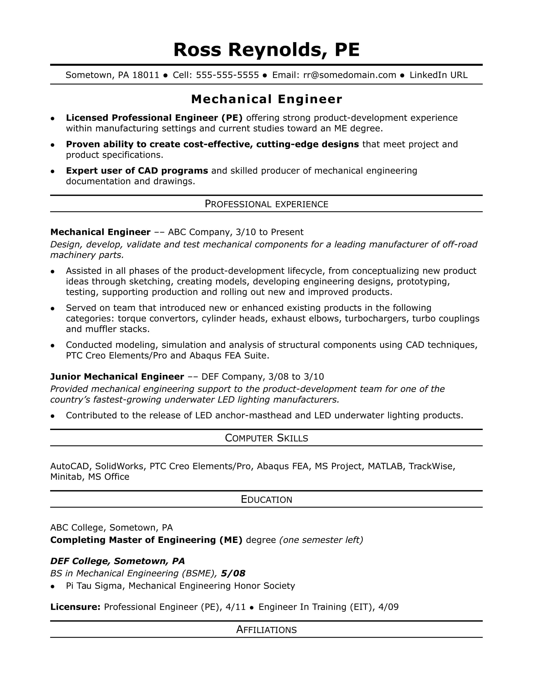 Sample Resume for a Midlevel Mechanical Engineer | Monster.com