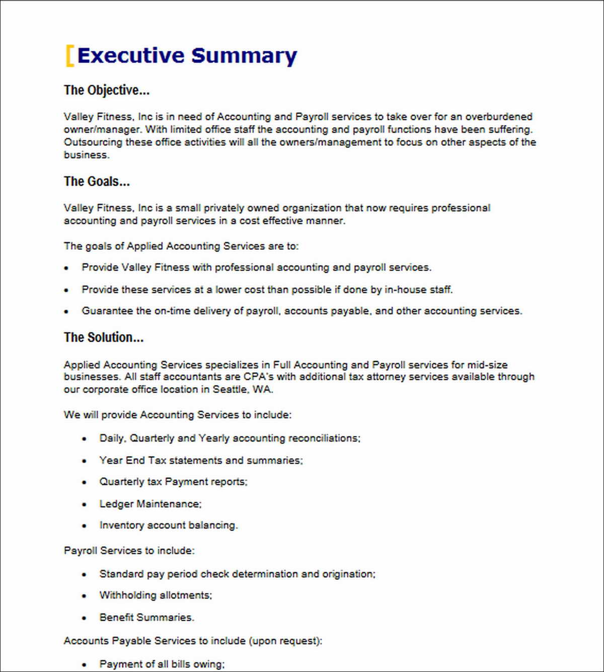 Accounting Payroll Services Proposal Executive Summary Accounting