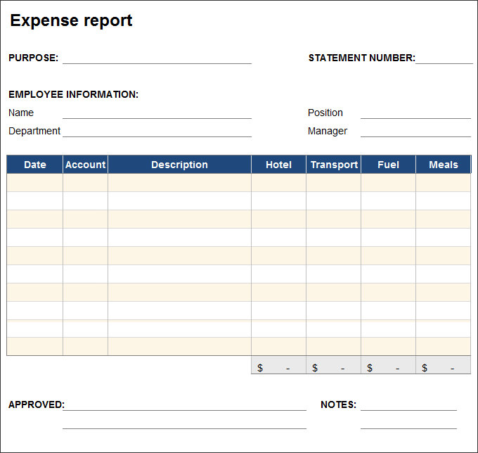Simple Expense Report Template Spreadsheetshoppe