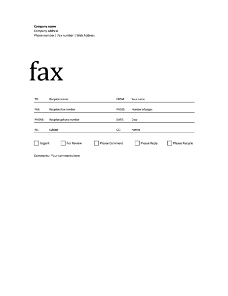 Free Fax Cover Sheet Template Printable Fax Cover Sheet