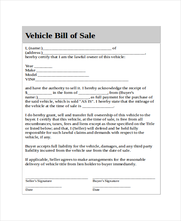 Generic Bill of Sale Template 12+ Free Word, PDF Document