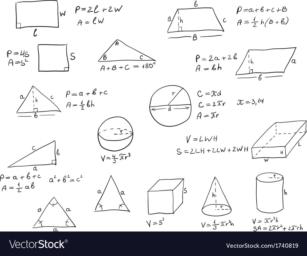 Hand Written Geometry Formulas Royalty Free Vector Image