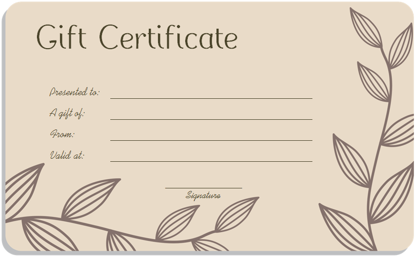 Leaf Branches Art Gift Certificate Template