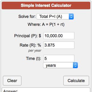 Simple Interest Calculator A = P(1 + rt)