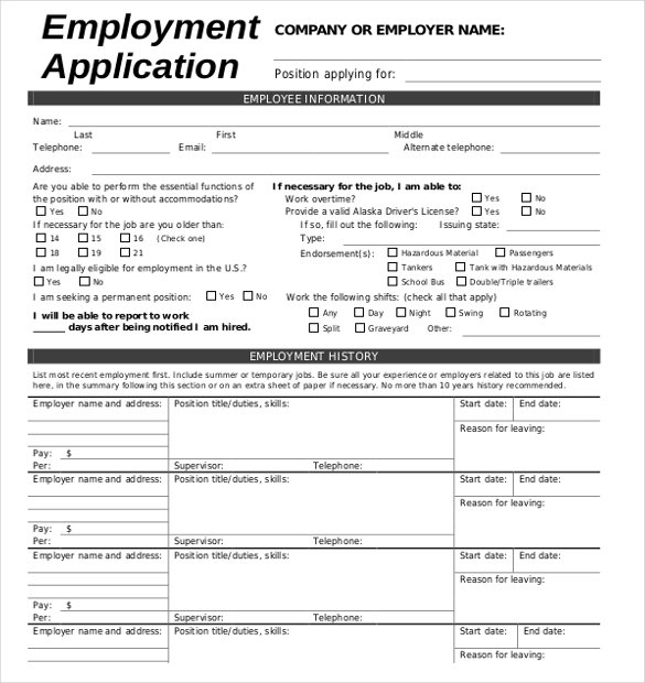 Job Application Template 18 Examples In Pdf Word Free Employment