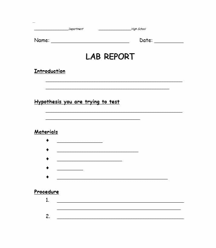 Lab Report Outline | Science Lab Report Template | School Ideas