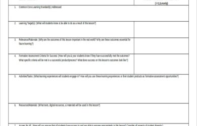 microsoft word lesson plan templates