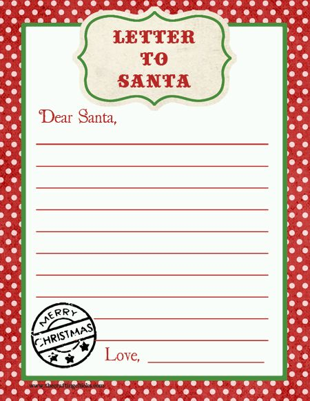 Letter to Santa Free Printable Download | Printable letters, Free