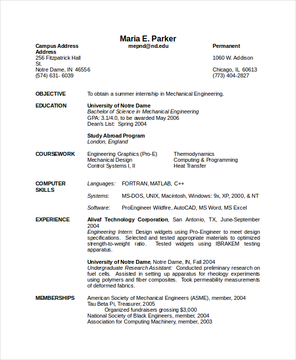 Mechanical Engineering Resume Template 5+ Free Word, PDF