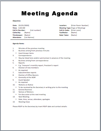 Free Meeting Agenda Template | Sample Meeting Agendas