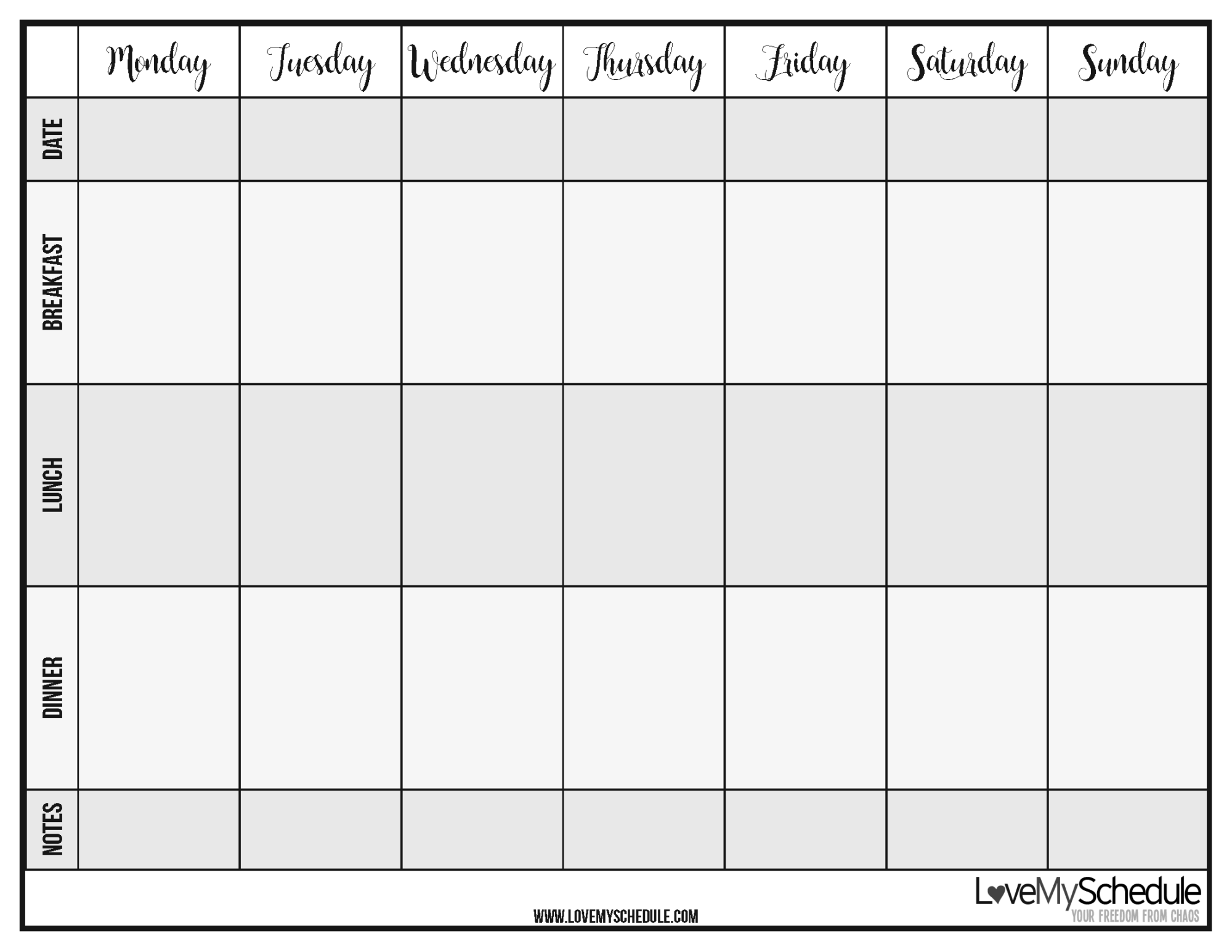 Printable Weekly Menu Meal Planner