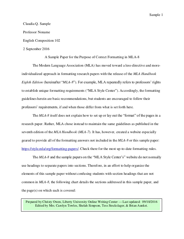 What does an MLA paper look like? | CWI