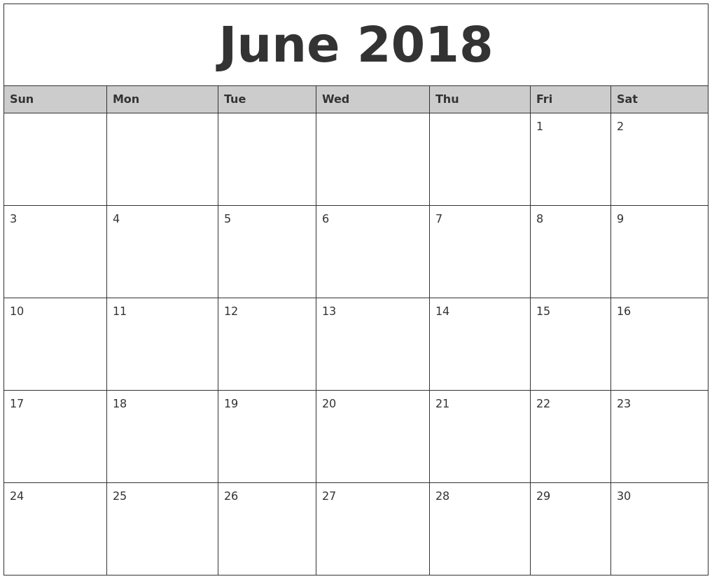 2018 Blank Monthly Calendar Free Printable Templates